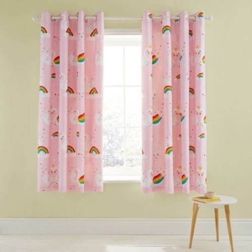 Catherine Lansfield Rainbow Swan Pink Eyelet Curtains